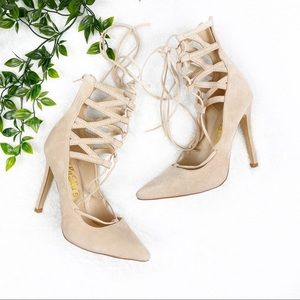 Lulu's Nude Lace Up Pointy Heels with Zipper